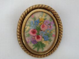 1940s - 1950s Small Sized Hand Embroidered Brooch - Floral design (sold)